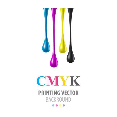 CMYK glänzenden Tropfen Standard-Bild - 39634316