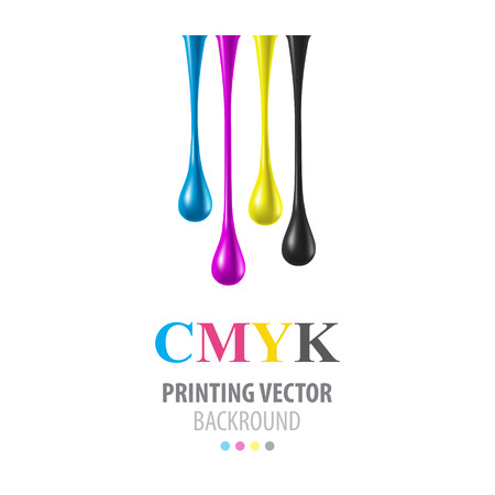 CMYK glanzende druppels Stock Illustratie