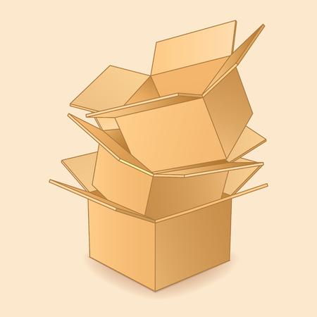 cajas de carton: Cartón icono cajas. Vectores