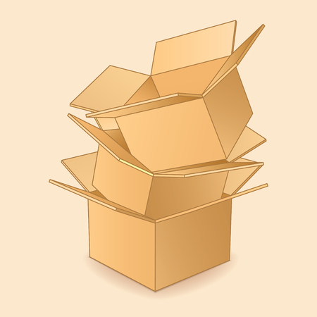tektura: Kartonowe pudełka ikona.