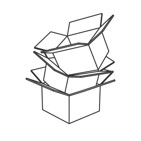 Cardboard boxes icon black