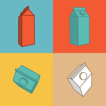 caja de leche: Leche icono plana. Iconos para aplicaciones móviles. Vectores