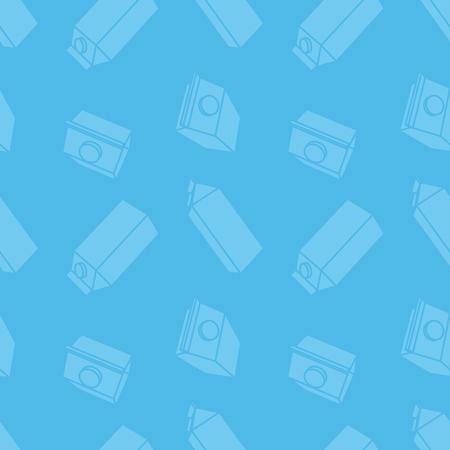 caja de leche: Inconsútil azul con el cartón de leche en estilo plano Vectores