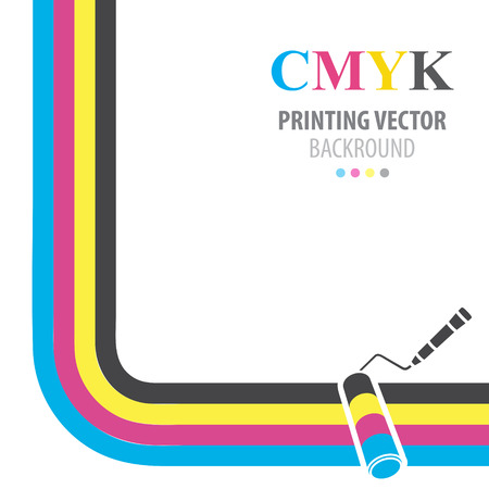 CMYK vector background. Print colors paint roller. Vector