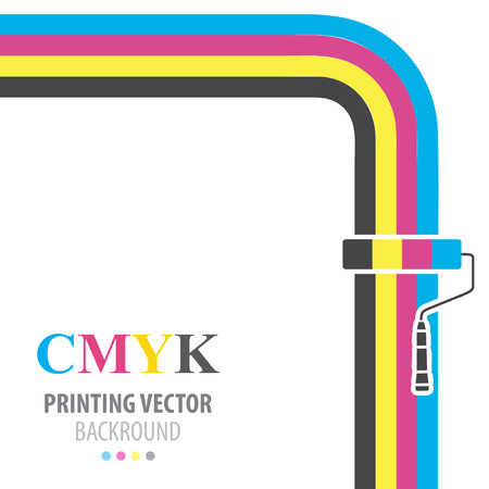 4 color printing: CMYK vector flat  background. Paint roller.