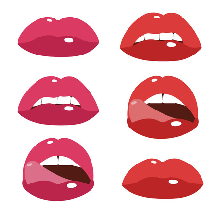 sexy mouth: Sexy lips, cartoon flat style vector illustration