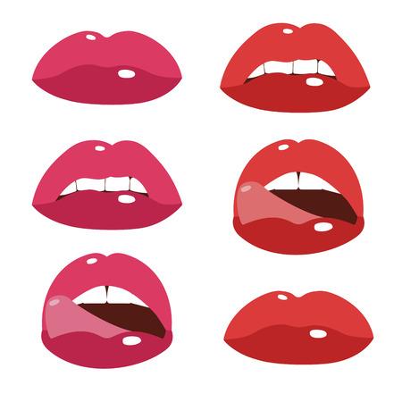 Sexy lips, cartoon flat style vector illustration