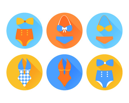 bikini top: Swimming suit flat icon with long shadow. Vector illustration