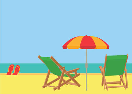 resort beach: Scene on a tropical beach with deck chairs