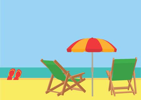 beach scene: Scene on a tropical beach with deck chairs