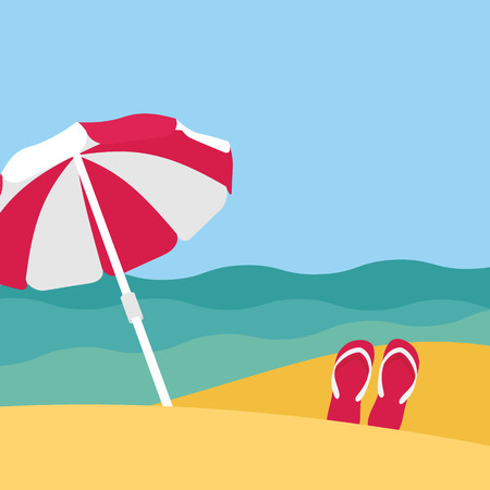 flip flops on the beach: Seaside view on beautiful beach with parasol Illustration