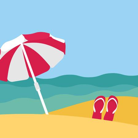 Vue mer sur la belle plage avec un parasol Banque d'images - 39630280