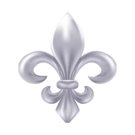 lis: Silver fleur-de-lis decorative design Illustration