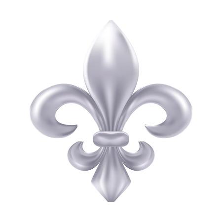 Silver fleur-de-lis decorative design Illustration
