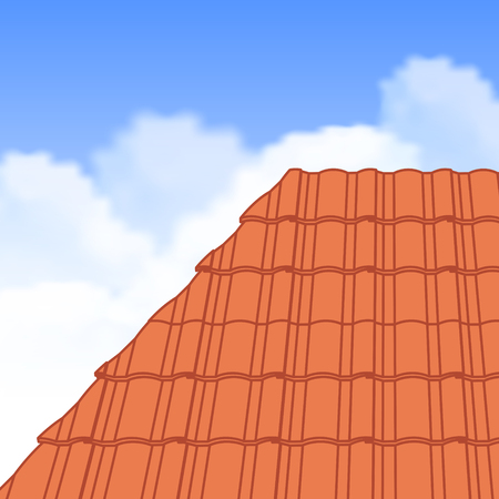 tile roof: Red corrugated tile element of roof.