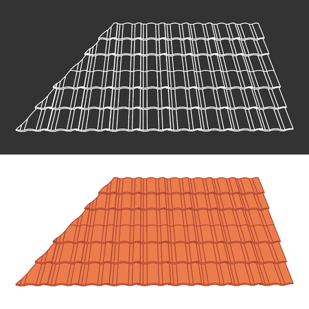 tile roof: Tile element of roof Illustration