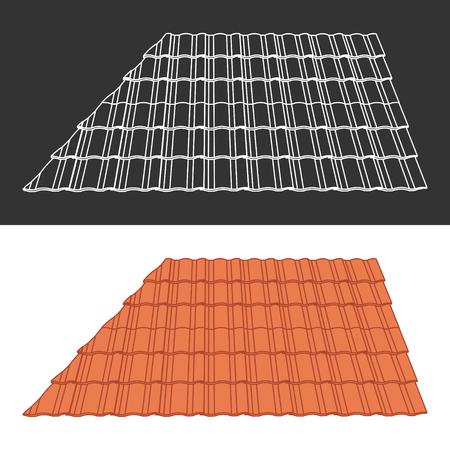 roof tile: Tile element of roof Illustration