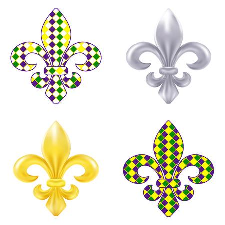 new orleans: Set of fleur de lis Mardi Gras illustration