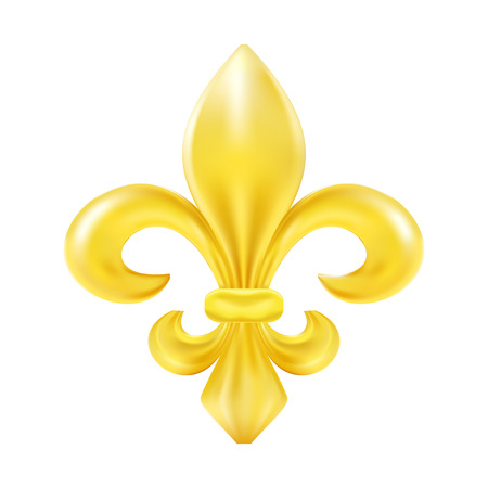 fleur de lis: Golden fleur-de-lis decorative design Illustration