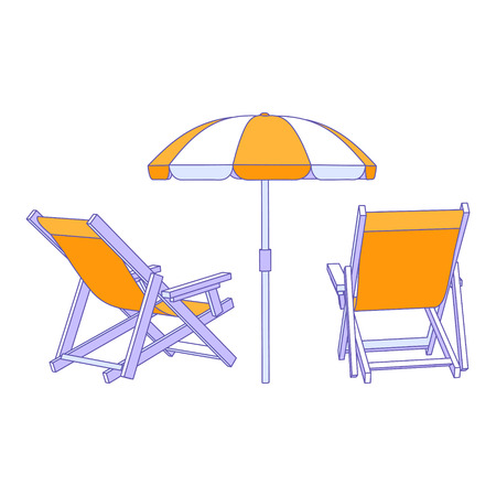 beach umbrella: Vector yellow deck chairs under beach umbrella Illustration