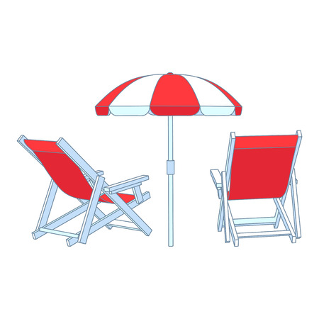 deck chair isolated: Vector red deck chairs under beach umbrella