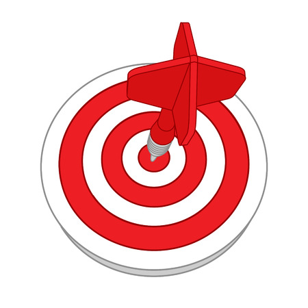 three points: Red darts target aim. Successful shoot. Illustration