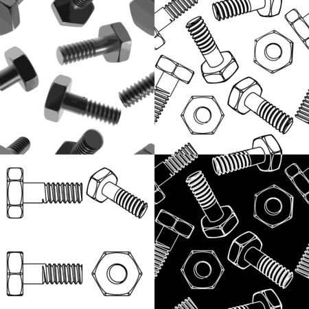 nut bolt: Nuts and bolts set Illustration