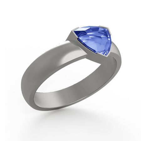 solitaire: Sapphire solitaire engagement ring Stock Photo