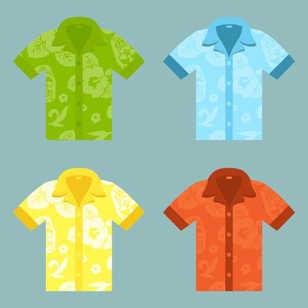 camiseta: Iconos planos de cuatro camisas Aloha. Vectores