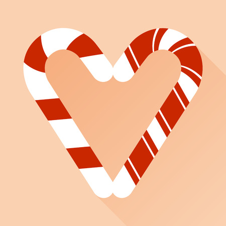 hard love: Candy cane style heart  on pink vector background