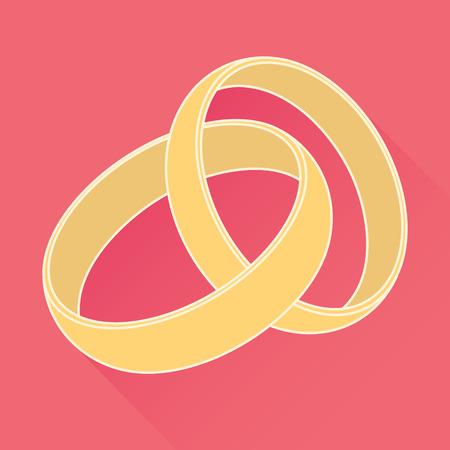 c�r�monie mariage: Vecteur anneaux de mariage ic�ne. Design plat Illustration
