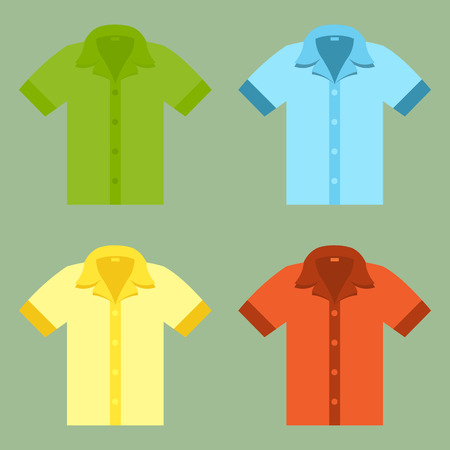 Shirts for your design in flat style. Vector
