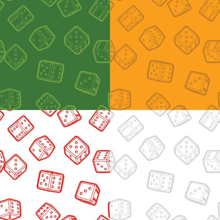 tossing: Dices seamless backgrounds set Illustration