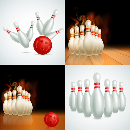 bowling sport: Bowling balls vector set