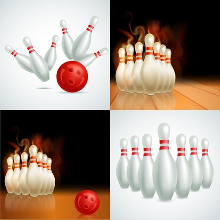 bolos: Bowling juego de bolas de vectores
