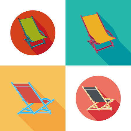 lounger: Lounger Beach Sunbed Chairs flat icons set