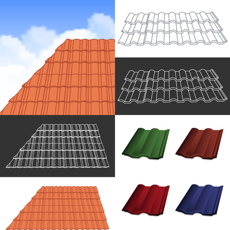 roof tile: Red corrugated tile elements of roof.