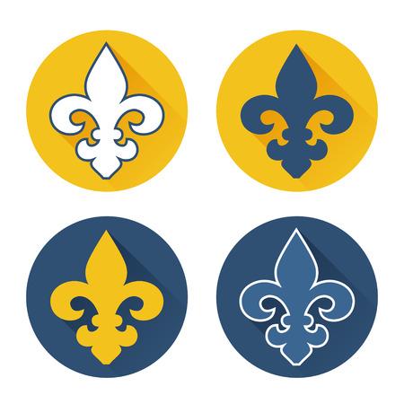 Royal lily flat design icons