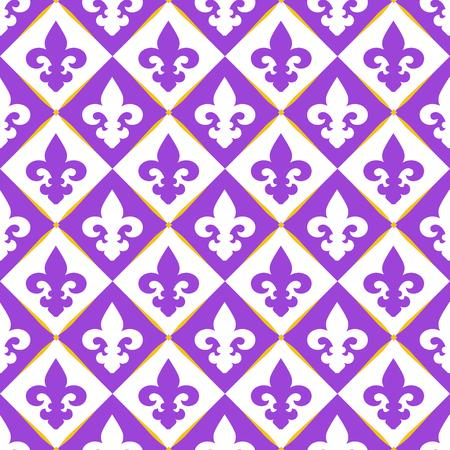 lily symbols: Seamless with royal lily. Mardi gras symbols.