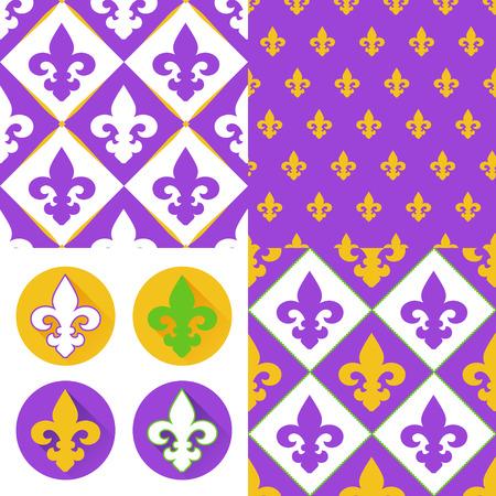Royal iconos del dise�o del lirio plana y Conjunto de fondos