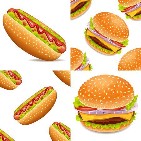 Hotdog and burger vector set