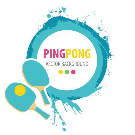 Raquetas de ping-pong y la pelota en el fondo del grunge.