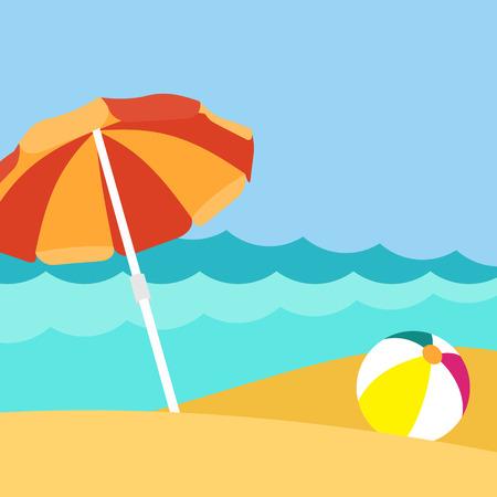 Seaside view on beautiful beach with parasol Ilustracja
