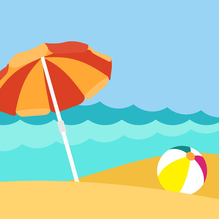 Seaside view on beautiful beach with parasol Illustration