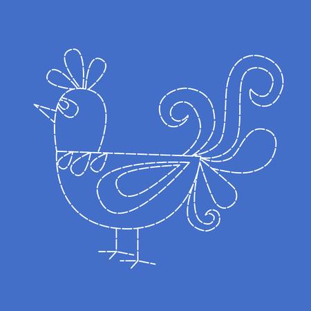 stitchery: Embroidered bird on blue background