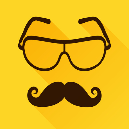 corrective lenses: Vector Sunglasses Icon with mustaches