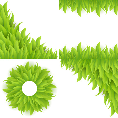 bush mesh: Green grass background set