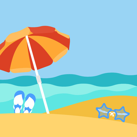 parasol: Seaside view on beautiful beach with parasol Illustration