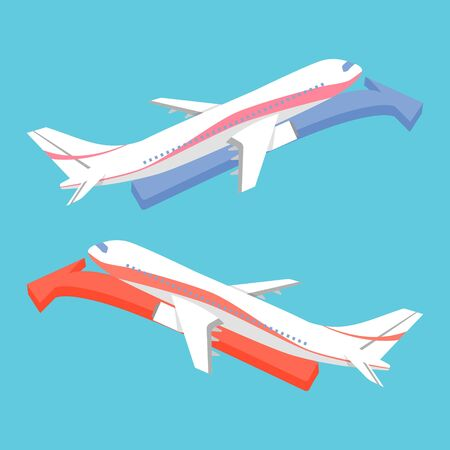 fixed wing aircraft: Airplane Icon Flat Minimal with Arrow