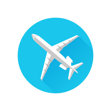 fixed wing aircraft: Airplane Icon Flat Minimal Vector Silhouette Illustration